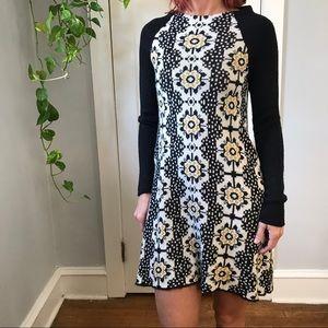 Free People Daisy Print Sweater Mod Mini Dress